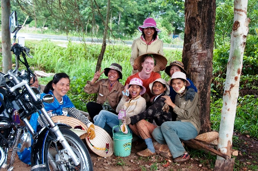 Hiding from the rain and taking marriage proposals in rural Vietnam with some lovely yam farmers