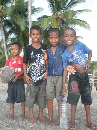 Making new friends at a dili beach East Timor
