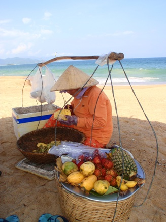 Fresh fruit whilst were relaxing on Nha Trang's beach = heaven!