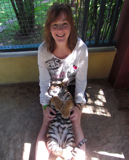 Kirsty with a baby tiger