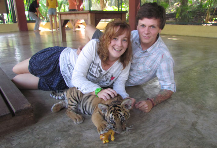 Poi and kirsty with baby tiger