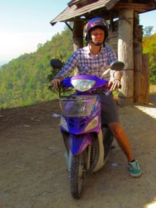 Riding a moped in Chiang Mai, Thailand