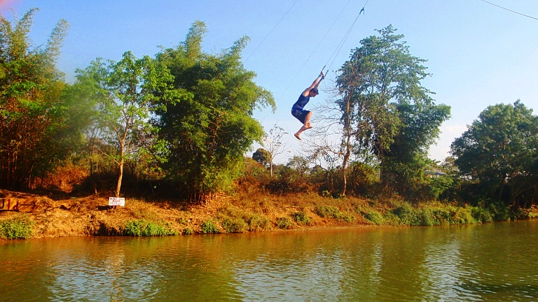 Rope swing - Tubing in Vang Vieng