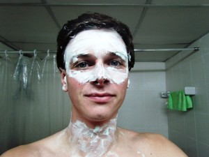 Face with shaving foam