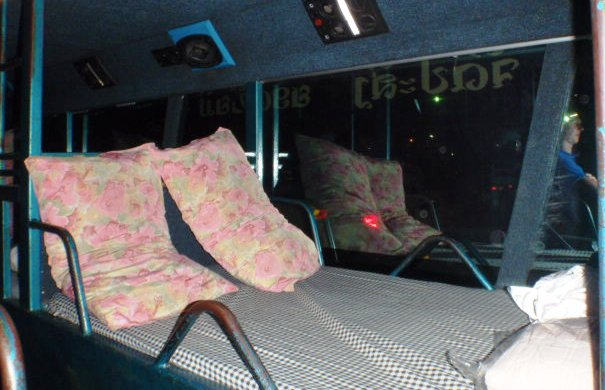 Bed on a Sleeper Bus