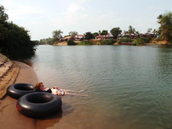 Private beach off Don Det, 4000 islands Laos
