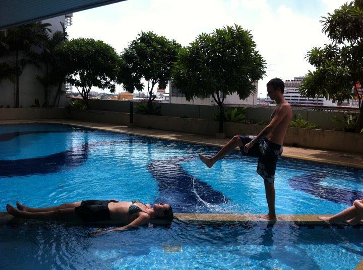 sarah in the pool