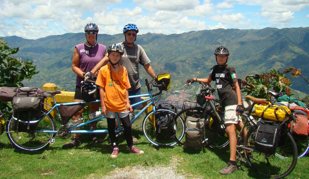 family on Bikes group picture in the Andes