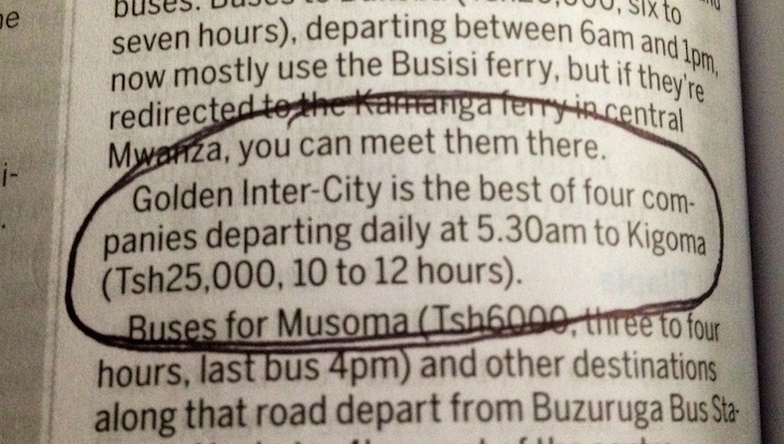 Mwanza to Kigoma by bus